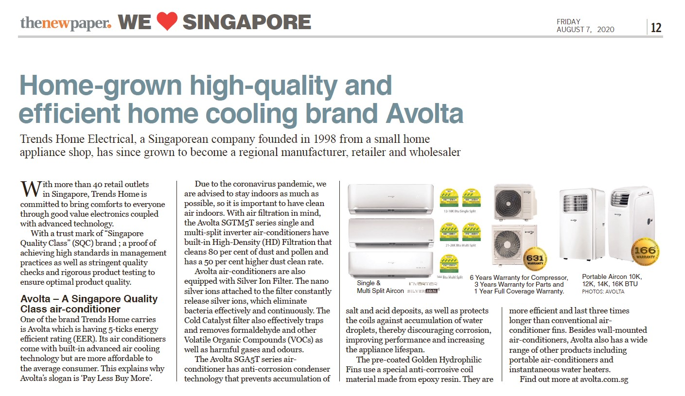 HOME GROWN HIGH QUALITY AND EFFICIENT HOME COOLING BRAND AVOLTA